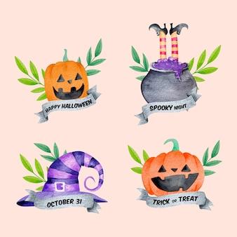 Coleção de etiquetas de halloween em aquarela