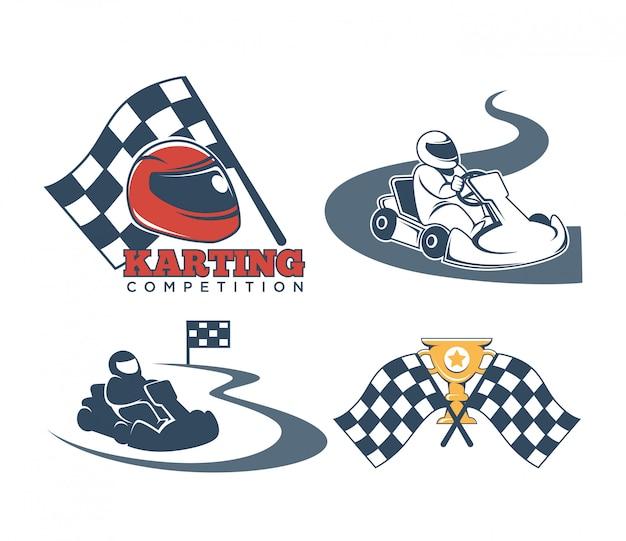 Coleção de etiquetas de kart
