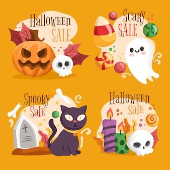 Coleção de etiquetas de liquidação de halloween Vetor grátis