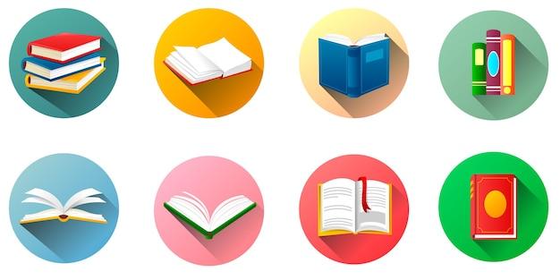 Coleção de etiquetas de livros redondos