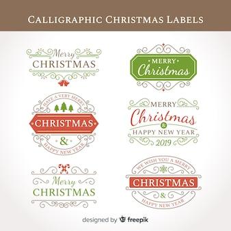 Coleção de etiquetas de natal caligráfico