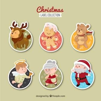 Coleção de etiquetas de natal com personagens principais de natal