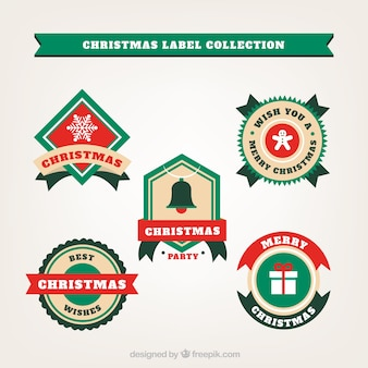 Coleção de etiquetas de natal de cinco