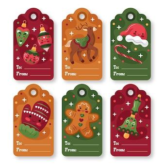 Coleção de etiquetas de natal desenhada à mão