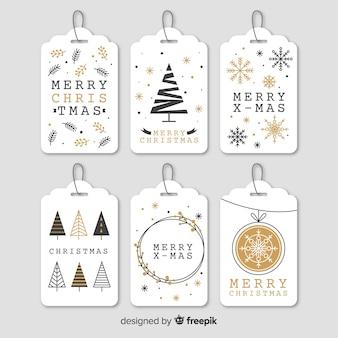 Coleção de etiquetas de Natal elegante