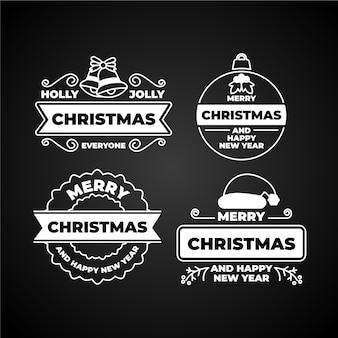 Coleção de etiquetas de natal no quadro-negro