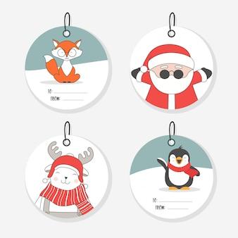 Coleção de etiquetas de natal. personagens planas fofos.
