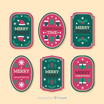 Coleção de etiquetas de natal vintage