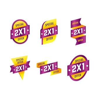 Coleção de etiquetas de oferta especial 2x1 amarela e violeta