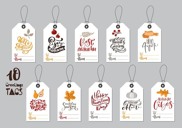 Coleção de etiquetas de outono com frases caligráficas, feliz dia de ação de graças e lugar para texto.