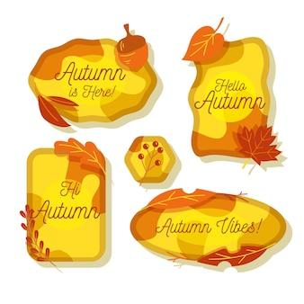Coleção de etiquetas de outono desenhada à mão