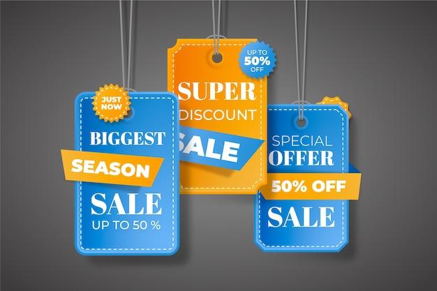 Coleção de etiquetas de poupança de venda no final do ano
