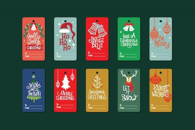 Coleção de etiquetas de presente de natal com citação