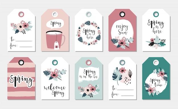 Coleção de etiquetas de presente de primavera.