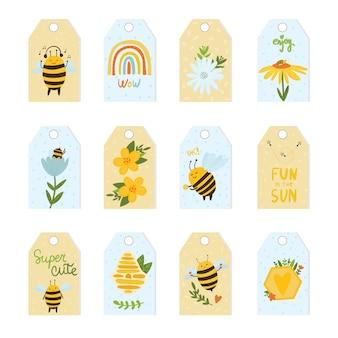 Coleção de etiquetas de presente para abelhas fofas