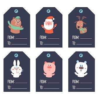 Coleção de etiquetas de presente prontas de usar fofas azuis de natal e ano novo