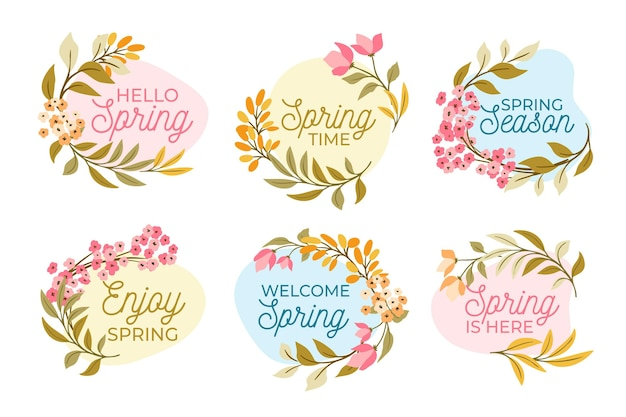 Coleção de etiquetas de primavera