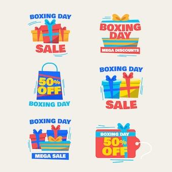 Coleção de etiquetas de promoção de boxing day em design falt