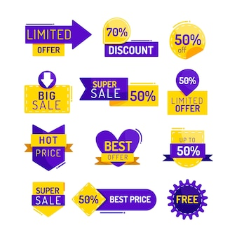 Coleção de etiquetas de promoção de vendas