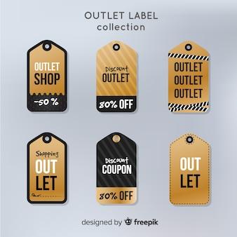 Coleção de etiquetas de saída