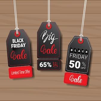 Coleção de etiquetas de sexta-feira negra ou rótulos