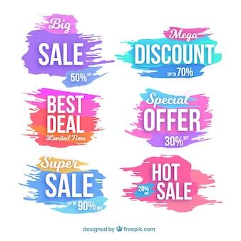 Coleção de etiquetas de venda de aquarela