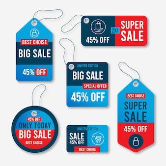 Coleção de etiquetas de venda de design plano