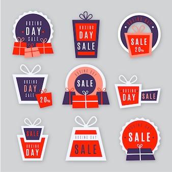 Coleção de etiquetas de venda de dia de boxe de design plano