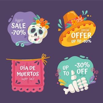Coleção de etiquetas de venda de dia de muertos desenhada à mão