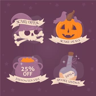 Coleção de etiquetas de venda de halloween desenhada à mão