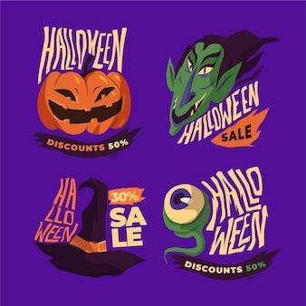 Coleção de etiquetas de venda de halloween em design plano