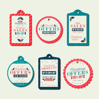 Coleção de etiquetas de venda de natal de design plano