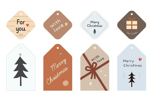 Coleção de etiquetas de venda de natal desenhada à mão