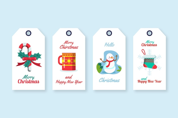 Coleção de etiquetas de venda de natal em design plano