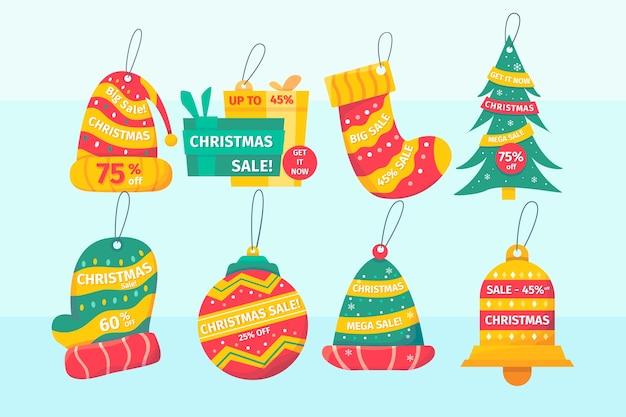 Coleção de etiquetas de venda de natal plana