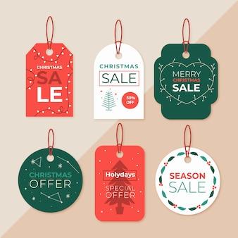 Coleção de etiquetas de venda de natal