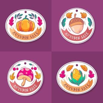 Coleção de etiquetas de venda de outono desenhada à mão