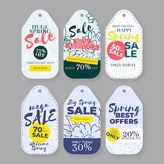 Coleção de etiquetas de venda de primavera