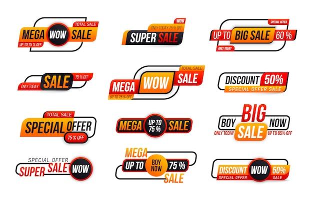 Coleção de etiquetas de venda em fundo branco. oferta especial, desconto, melhor preço, mega, grande venda, conjunto de banner. banner de oferta especial