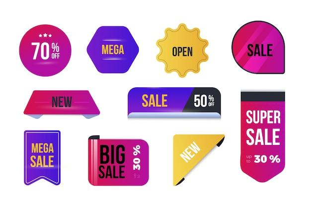 Coleção de etiquetas de venda plana