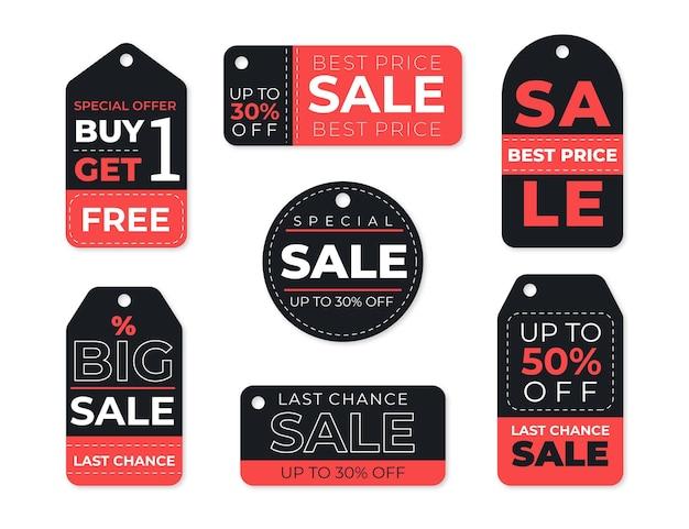 Coleção de etiquetas de venda pretas e vermelhas