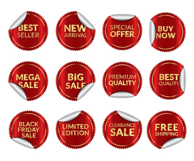 Coleção de etiquetas de venda