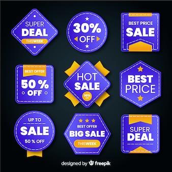 Coleção de etiquetas de vendas de estilo realista