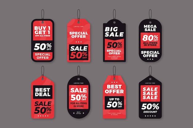 Coleção de etiquetas de vendas planas