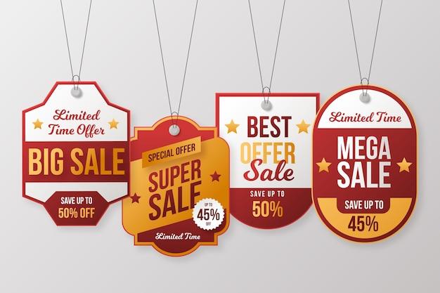 Coleção de etiquetas de vendas realistas com descontos