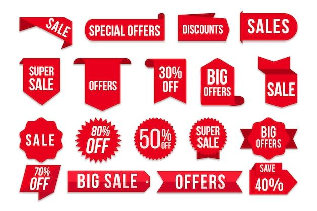 Coleção de etiquetas de vendas