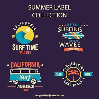 Coleção de etiquetas de verão no projeto do vintage