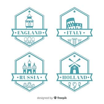 Coleção de etiquetas de viagem