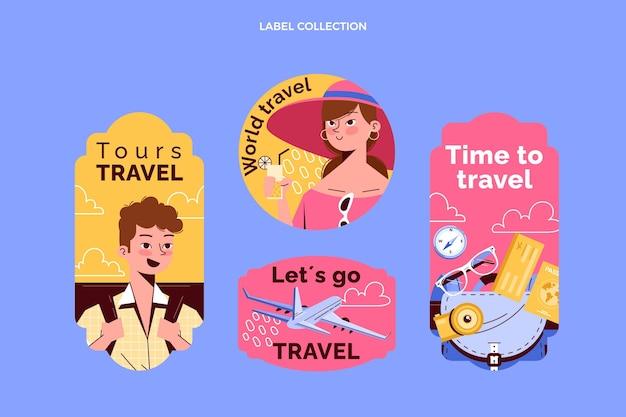 Coleção de etiquetas de viagens desenhadas à mão