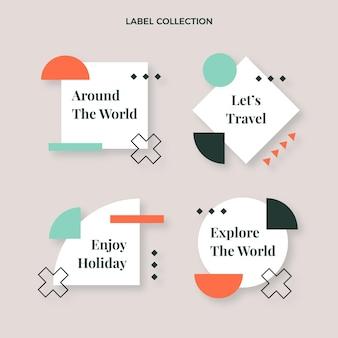 Coleção de etiquetas de viagens planas